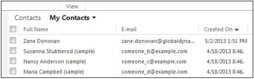 Microsoft Dynamics Contacts